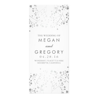 Baby's Breath White and Silver Wedding Program Rack Card