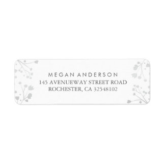 Baby's Breath White and Silver Wedding Return Address Label
