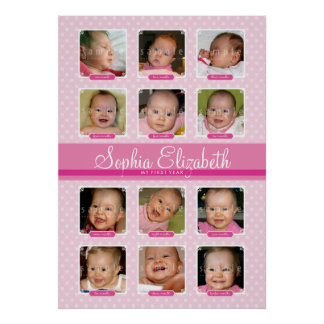 BABY'S FIRST 12 MONTHS BIRTHDAY KEEPSAKE  girl Poster