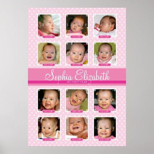 BABY'S FIRST 12 MONTHS BIRTHDAY KEEPSAKE girl Poster