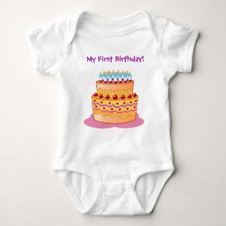 Baby's First Big Birthday Cake Baby Bodysuit