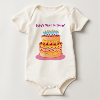 Baby's First Big Birthday Cake Baby Bodysuit