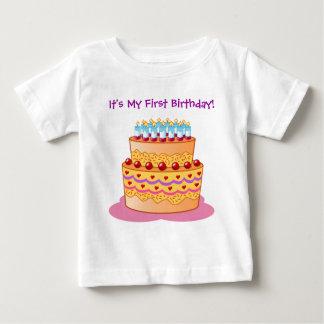 Baby's First Big Birthday Cake Baby T-Shirt