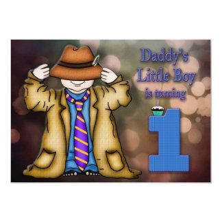 BABY'S FIRST BIRTHDAY - BOY - DADDY'S LITTLE BOY 13 CM X 18 CM INVITATION CARD