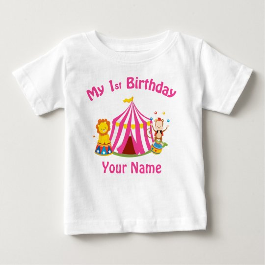 Baby's first birthday circus pink personalised baby T-Shirt