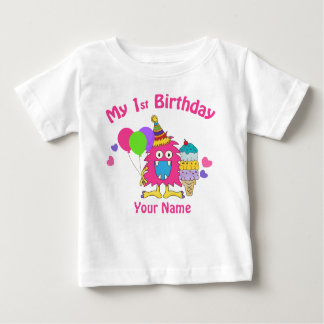 Baby's first birthday circus pink personalized baby T-Shirt