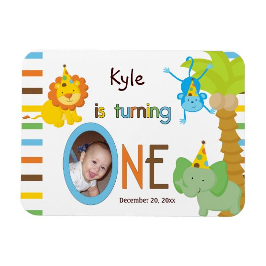 Babys First Birthday Customisable Party Favour Rectangular Photo Magnet