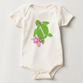 Baby's First Birthday Honu & Hibiscus Baby Bodysuit