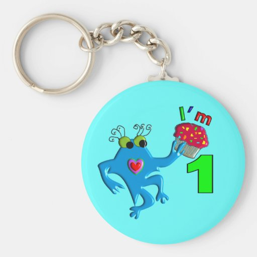 """Baby's First Birthday """"I'm 1"""" Monster T Key Chains"""