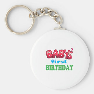Baby's First Birthday Basic Round Button Key Ring