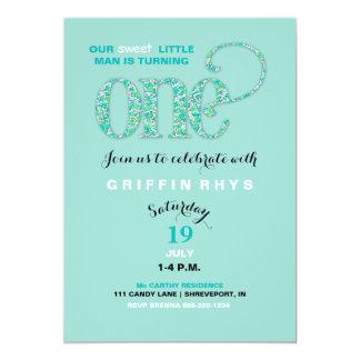 Baby's First Birthday Mint & Aqua Sprinkles 13 Cm X 18 Cm Invitation Card