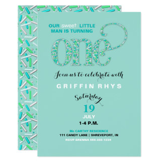 Baby's First Birthday Mint & Aqua Sprinkles Card