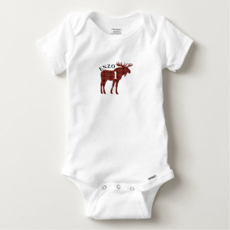 Baby's First Birthday Party Plaid Moose Bodysuit