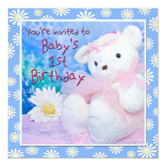 Baby's First Birthday Teddy Bear & Daisies 13 Cm X 13 Cm Square Invitation Card