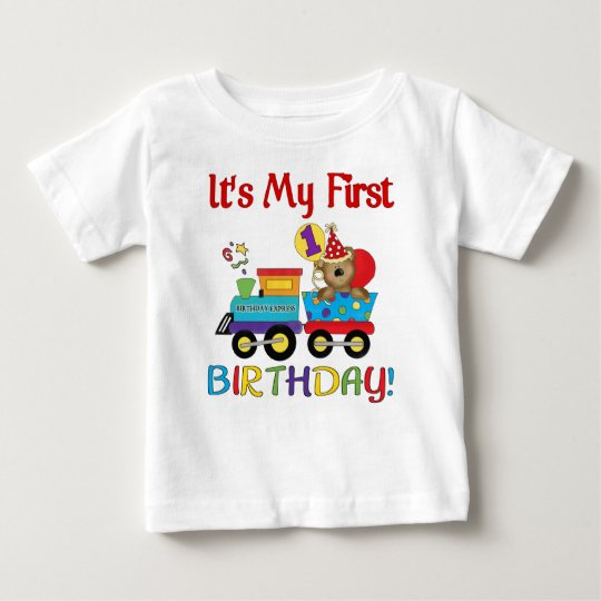 Baby's first birthday train baby T-Shirt