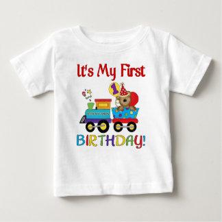 Baby's first birthday train t-shirts