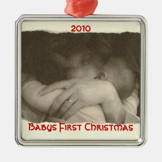 Babys First Christmas, 2010 Silver-Colored Square Decoration