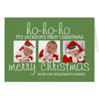 Baby's First Christmas 3 Photo Christmas Card