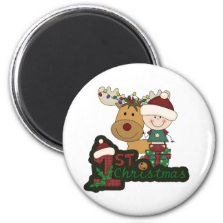 Baby's First Christmas 6 Cm Round Magnet