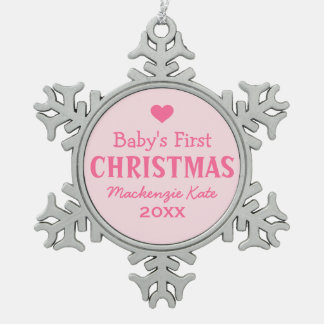 Baby's First Christmas | Baby Girl Snowflake Pewter Christmas Ornament