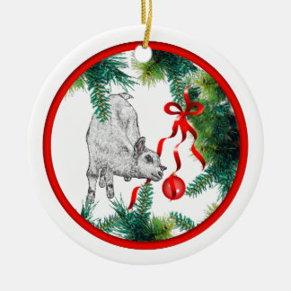 Baby's First Christmas Baby Goat Round Ceramic Decoration