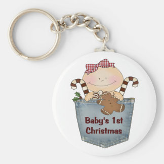 Baby's First Christmas Basic Round Button Key Ring