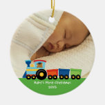 Baby's first Christmas bear train photo ornament