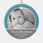 Babys First Christmas - blue chevrons and grey