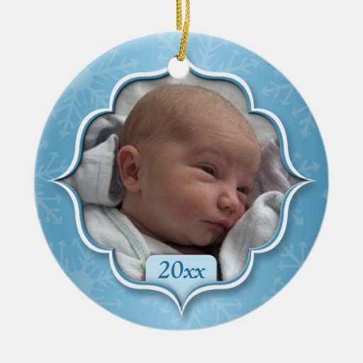 Baby's First Christmas Blue Photo Ornament