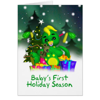 Baby's First Christmas Card , Cute Little Green Dr