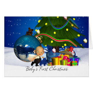 Baby's First Christmas Card With Cute Little Baby