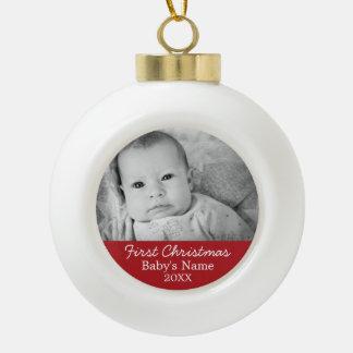 Baby's First Christmas Ceramic Ball Christmas Ornament