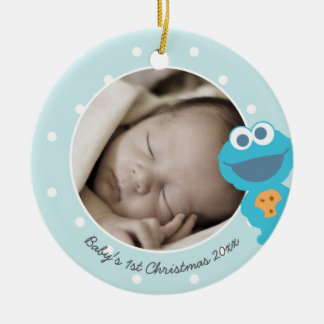 Baby's First Christmas - Cookie Monster Round Ceramic Decoration