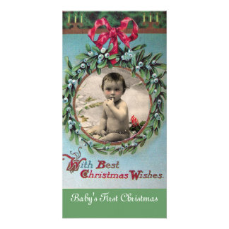 BABY'S FIRST CHRISTMAS CROWN PHOTO TEMPLATE PERSONALIZED PHOTO CARD
