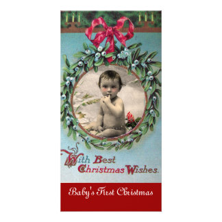 BABY'S FIRST CHRISTMAS CROWN PHOTO TEMPLATE CUSTOMISED PHOTO CARD