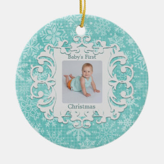 Babys First Christmas Custom Holiday Photo Christmas Ornament