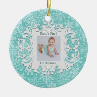 Babys First Christmas Custom Holiday Photo Round Ceramic Decoration