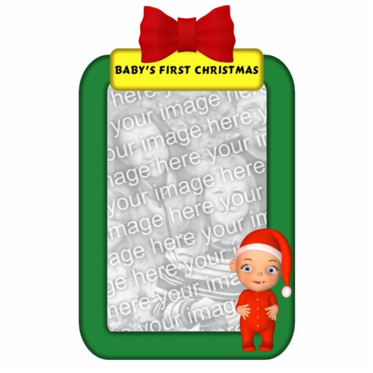 Baby 39 s first christmas custom photo ornament photo for Babys first christmas decoration