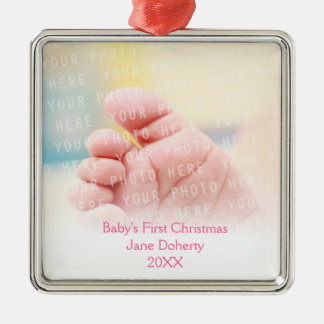 Baby's First Christmas | Customizable Silver-Colored Square Decoration