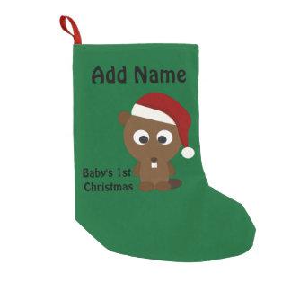Baby's First Christmas Cute  Santa Beaver Small Christmas Stocking
