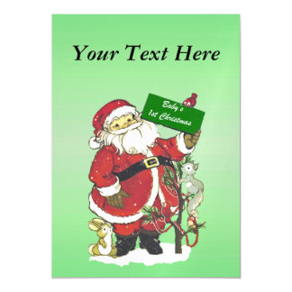 Baby's First Christmas Cute Santa Sign Magnetic Invitations