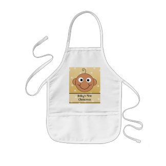 Baby's First Christmas. Dark Skin. On Gold Color. Apron