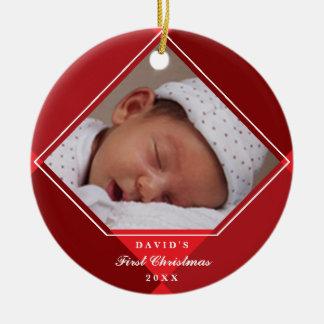 Baby's First Christmas Diamond Argyle Ornament