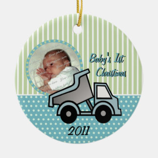 Babys First Christmas Dump Truck Photo Christmas Ornament