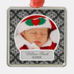 Baby's First Christmas Elegant Damask Black Christmas Ornament