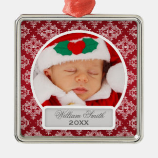 Baby's First Christmas Elegant Damask Red Christmas Ornament