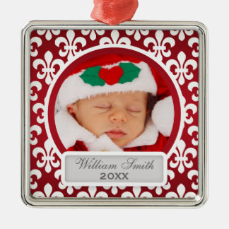Baby's First Christmas Fleur De Lis Red Silver-Colored Square Decoration