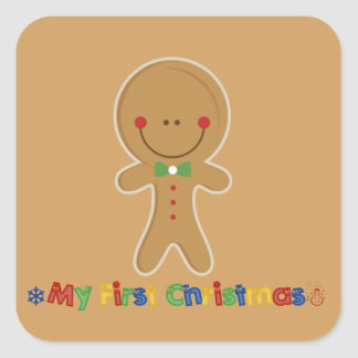 Babys First Christmas Gingerbread Boy Square Sticker