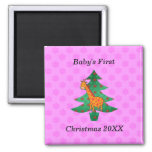 Baby's first christmas giraffe pink snowflakes