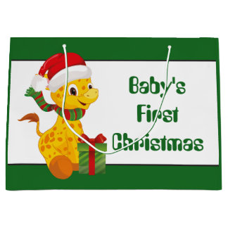 Baby's First Christmas giraffe unisex gift bag